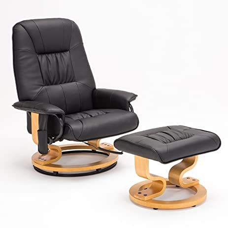 RECLINER GENIUS Real Leather Recliner Chair With Ottoman, Black