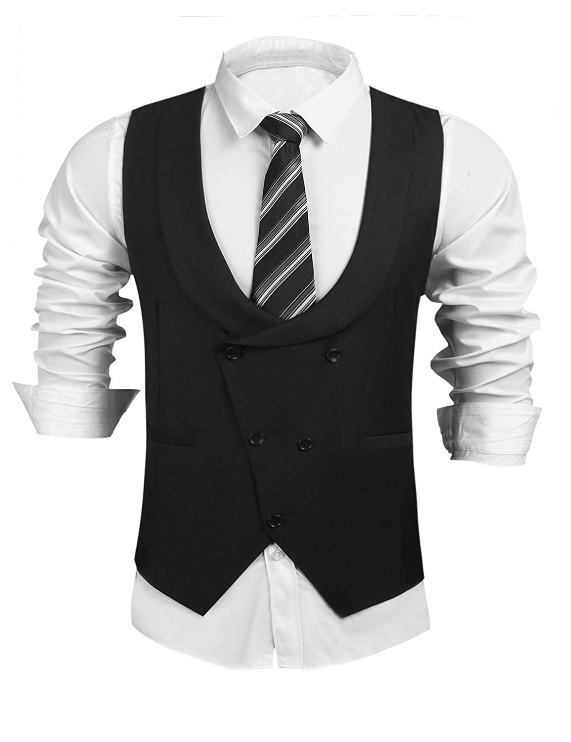 New Vintage Tuxedos, Tailcoats, Morning Suits, Dinner Jackets COOFANDY Mens Formal Suit Vest Business Waistcoat Double Breasted U-Neck Shawl Collar Slim Fit Waistcoat for Suit Tuxedo $28.99 AT vintagedancer.com