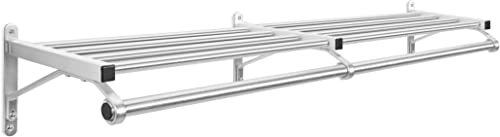 ClosetsClosetsClosets Wall Mounted Closet Coat Rack w Shelf Hanger Bar – Satin Aluminium – 60 Inches