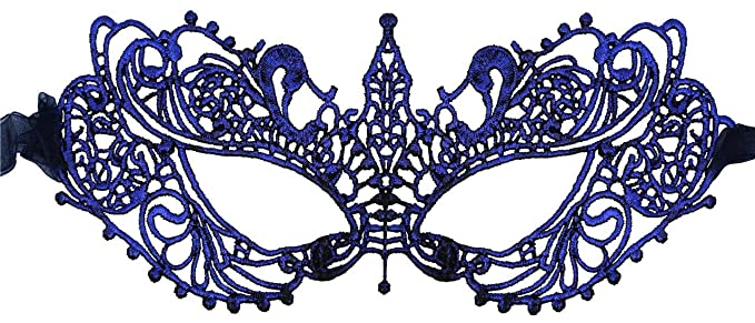 amazon com luxury mask women s stunning all navy lace masquerade
