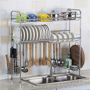 Escurreplatos de Acero inoxidable Estante de almacenamiento de cocina de doble capa Secador de vajillas de secado en rack