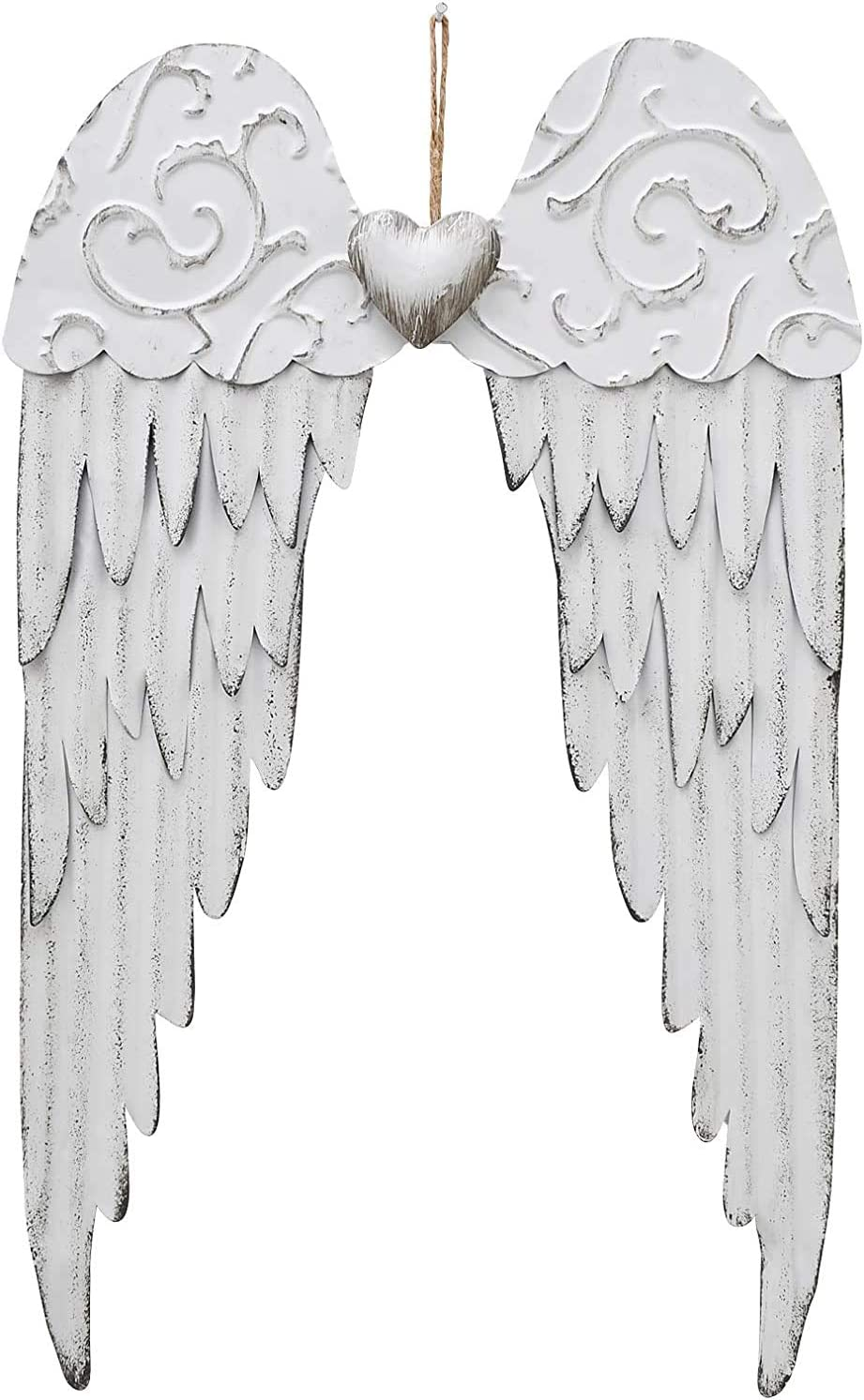 Hanging Metal Angel Wings with Heart Wall Art Decor, Rustic Metal Angel Wall Sculpture Antique Angel Home Wall Decoration - (17''H)