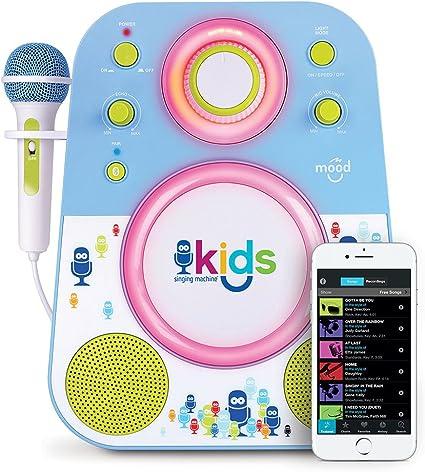 Singing Machine Smk250bg Bluetooth Sing Along Kids Karaoke Machine With Led Lights And Microphone Blue Green Amazon Co Uk Toys Games