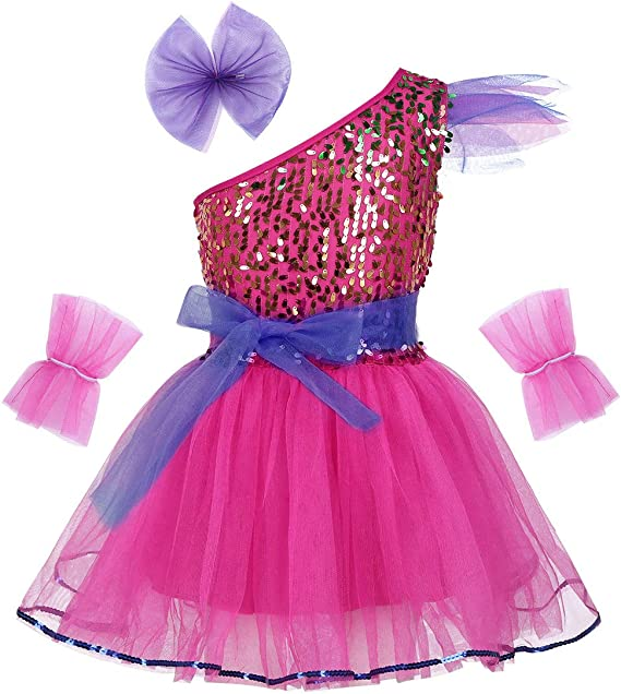 IEFIEL Vestido Danza Niña Disfraz de Bailarina Vestido Lentejuelas ...