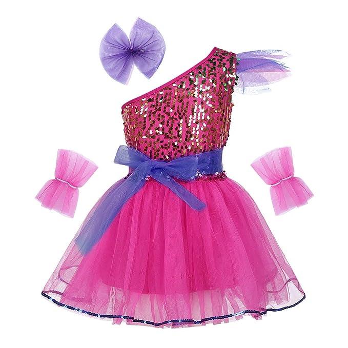 iiniim Vestido Lentejuelas Princesa Flores para Niña Chica Traje ...