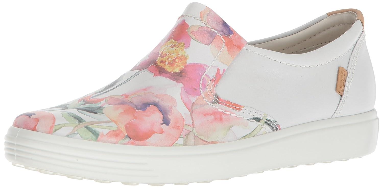 ECCO Women's Soft 7 Slip Sneaker B074FLDN2X 39 M EU (8-8.5 US) White Floral Print/White/Powder