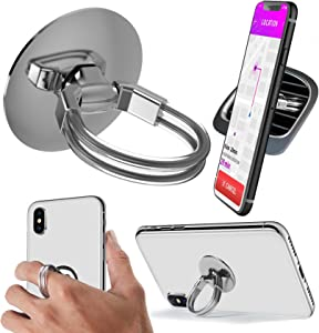 Aduro Cell Phone Ring Holder, 3 in 1 Universal Phone Ring Stand Car Holder, Finger Grip Phone Holder for iPhone, Samsung Phone and Smartphones (Silver)