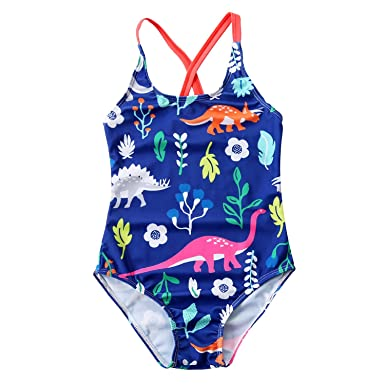 0279ab3c7 Looching Little Girls Cartoon Pattern Printing One Piece Swimsuit Beach Bathing  Suit, Navy, 3