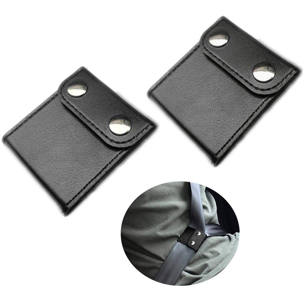 Car Seatbelt Adjuster, PU Baby Chest Harness Clip Locking Pad, Safety Seat Belt Covers, Shoulder Neck Strap Positioner (2-Pack, Black) xbes