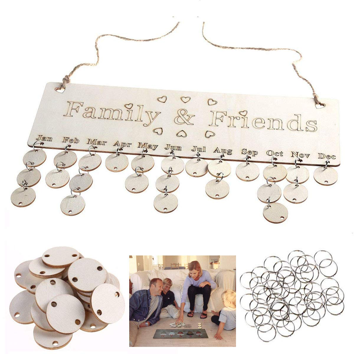 Dproptel DIY Family & Friends Hanging Calendar Wooden Board Birthday Reminder Plaque Home Decor for Birthday & Events Reminder Decorative Wooden Wall Calendar and Keep Track of Other Important Dates (White-Wooden) Dproptel Direct
