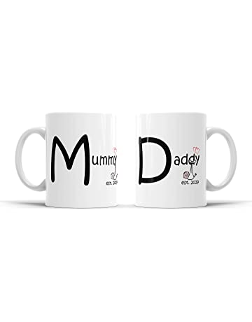 330648bb578 Miqat Mugs New Mum New Dad Mugs x 2, Personalised. Gift for New Parents