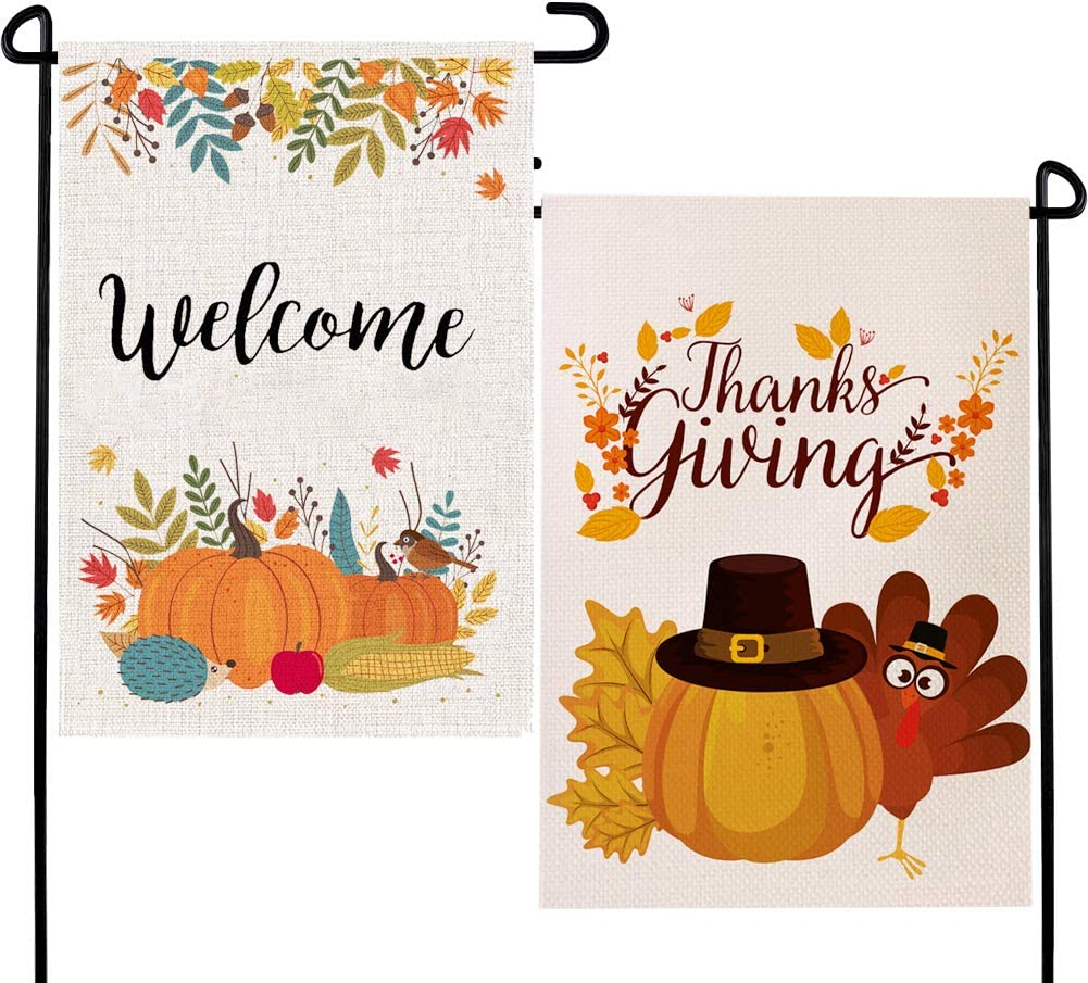 Pumpkin Turkey Garden Flag Welcome Fall Burlap Sign Double Sided 2 Pack Autumn Thanksgiving Yard Outdoor Harvest Holiday Seasonal Decoration 12.5 x 18 inches