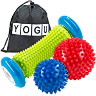 YOGU Foot Massage Roller Spiky Ball Trigger Point Therapy Myofascial Release Deep Tissue Massager Relieve Plantar Fasciitis Heel Spurs Foot Arch Pain Acupressure Reflexology Relax Sore Muscle Knots