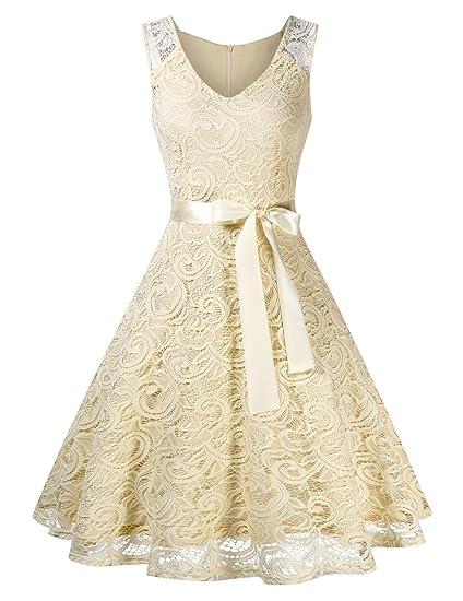 KOJOOIN Damen Kleid Brautjungfernkleid Knielang Spitzenkleid Ärmellos Cocktailkleid?Verpackung MEHRWEG?