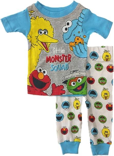 Sesame Street Childrens Toddler 2 Piece Pajama Set Little Monster Squad