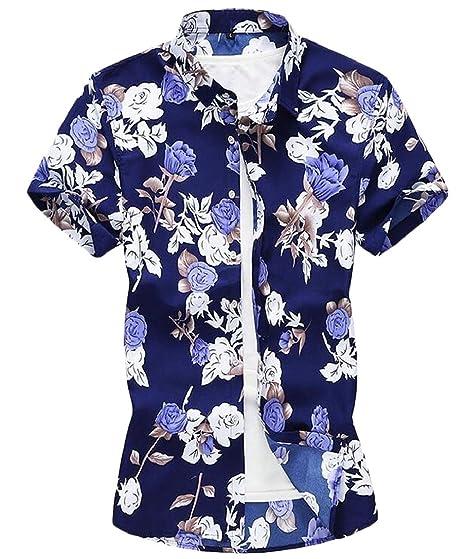 6a66f844 Suncolor8 Mens Short Sleeve Stylish Floral Print Button Down Hawaiian Shirts  Blue XS