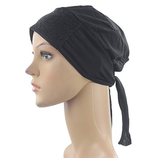 65f917176887 Cogongrass Hijab Underscarf Cap Muslim Islim Scarf Inner Hijab with  Headband Belt Polyester Black