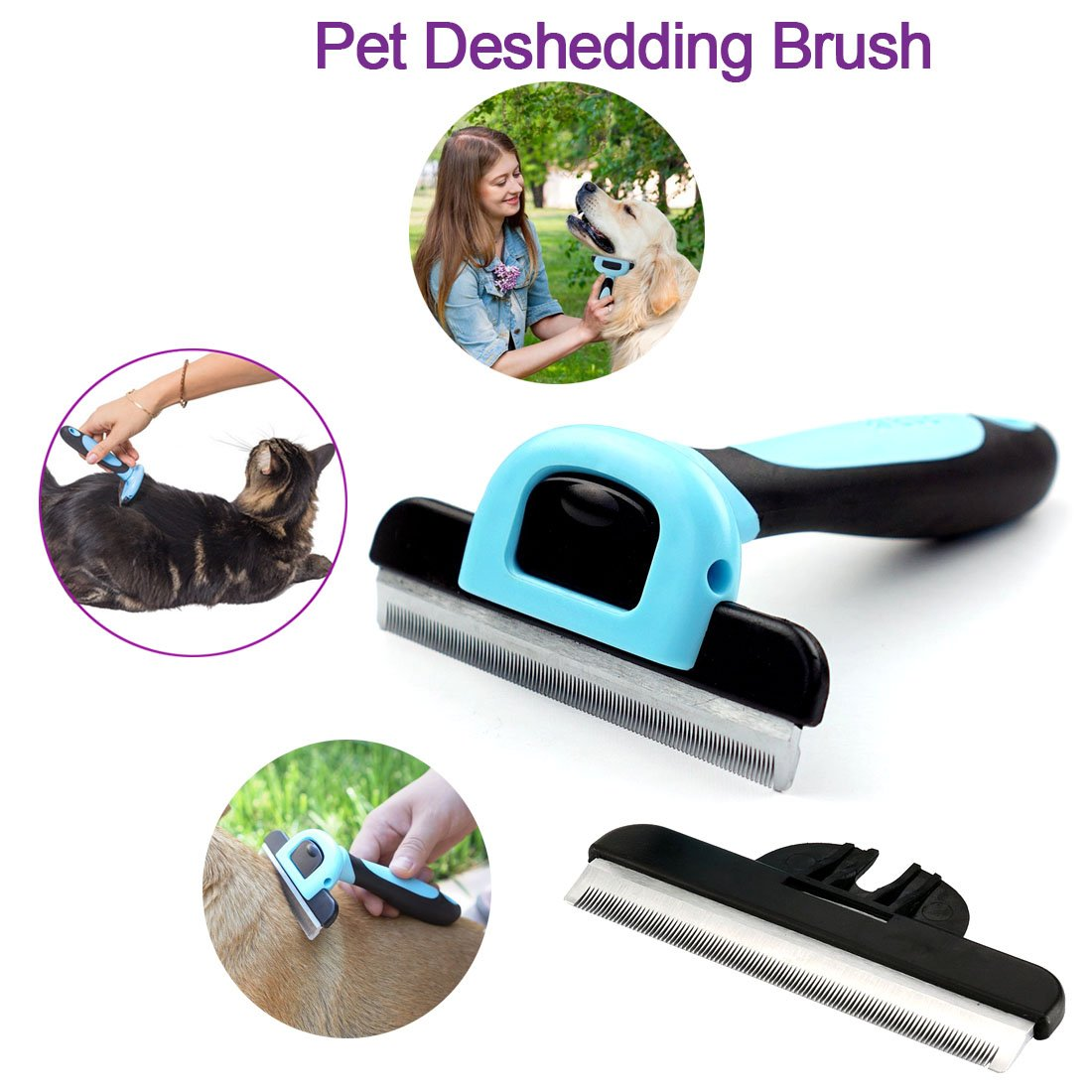 bluee Pet Shedding Tool Dog Hair Brush Grooming Comb,Toolisi Pet Grooming Brush Effectively Remove Up to 95 Stainless Steel Gentle Bristles Painless Shedding Comb Tool for Dogs and Cats, Horses and More Animals Coat Fur