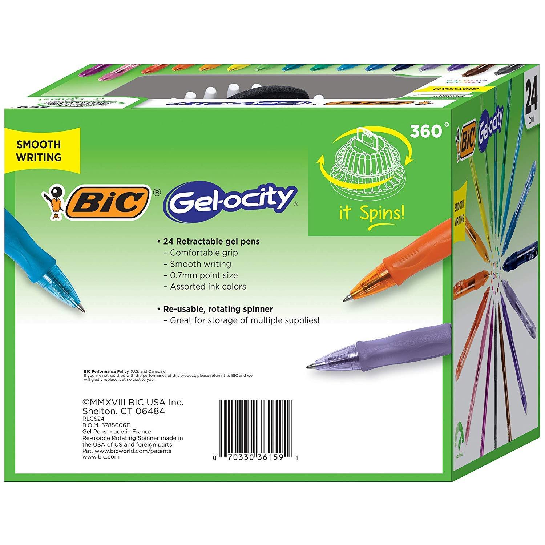 Assorted Colors 24-Count BIC Gel-ocity Original Retractable Gel Pen Spinner