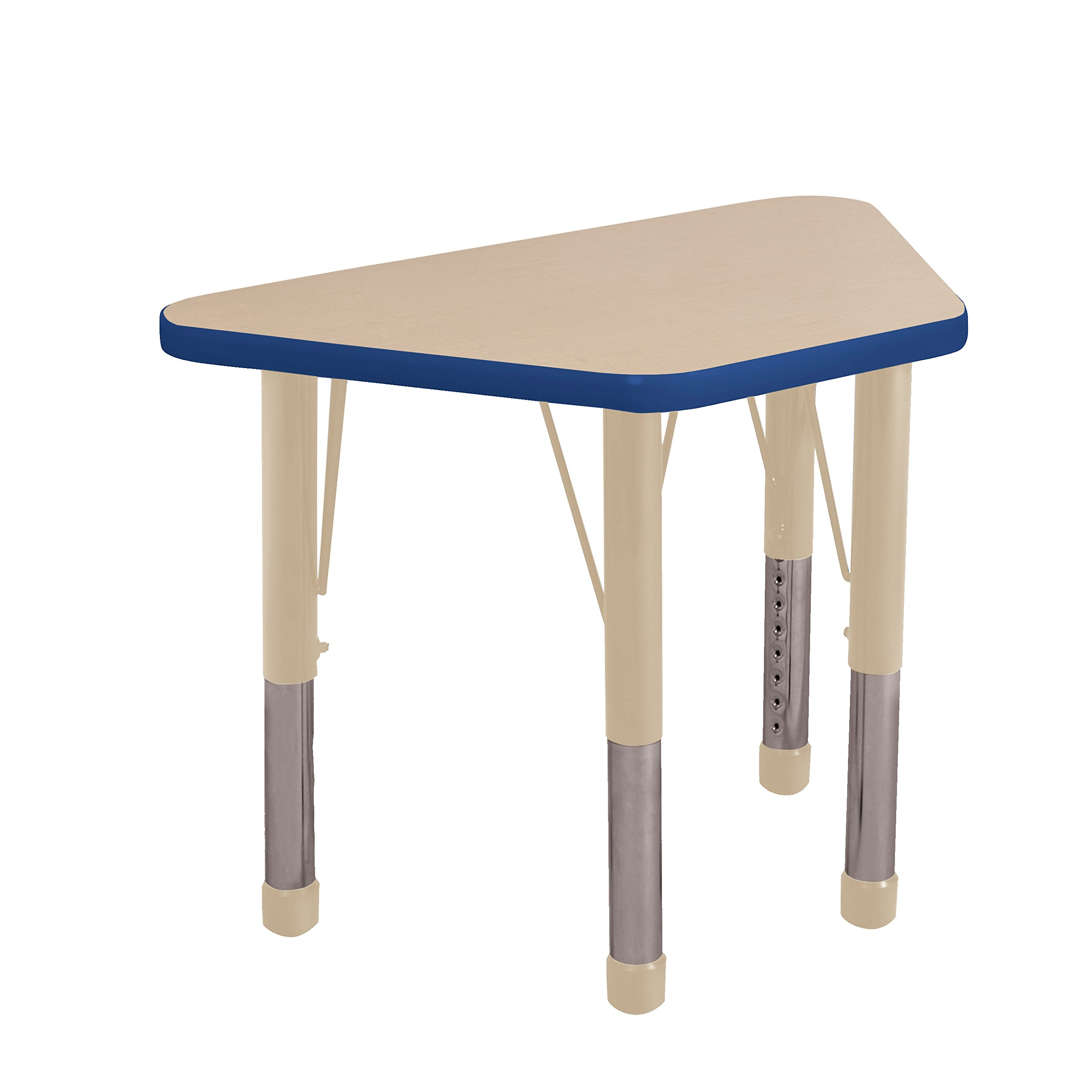 ECR4Kids Everyday T-Mold 18'' x 30'' Trapezoid Activity School Table, Chunky Legs, Adjustable Height 15-24 inch (Maple/Blue/Sand)