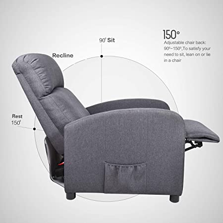 Amazon Com Massage Recliner Chair Ergonomic Heated Rocking Sofa Gliders Lounge Chairs Heated W Control Linen Surface Padded Seat Home Theater Seating For Living Room M Gray Kitchen Dining