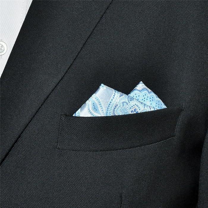 Shlax&Wing único Hombre Traje De Negocios Seda Pañuelo De Bolsillo Para Azul Geométrico Floral 12.6