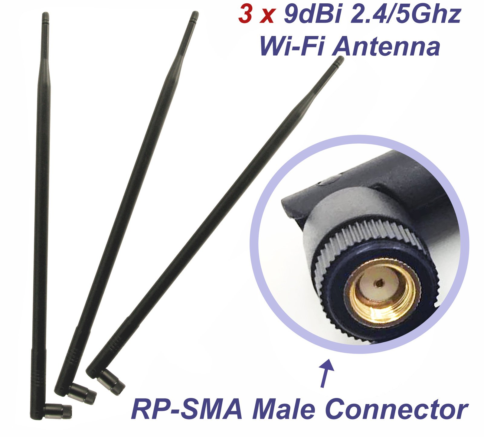 3 Wifi 9dBi Dual Band Omni Directional Antenna 2.4Ghz/5Ghz with RP-SMA Male Connector For Wireless Wi-Fi Router and Network Devices by GP Electric (Image #2)