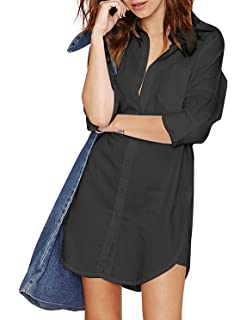 059b5ed8 HAOYIHUI Women's Casual Long Sleeve Boyfriend Pocket Shirt Dress Tunic Top