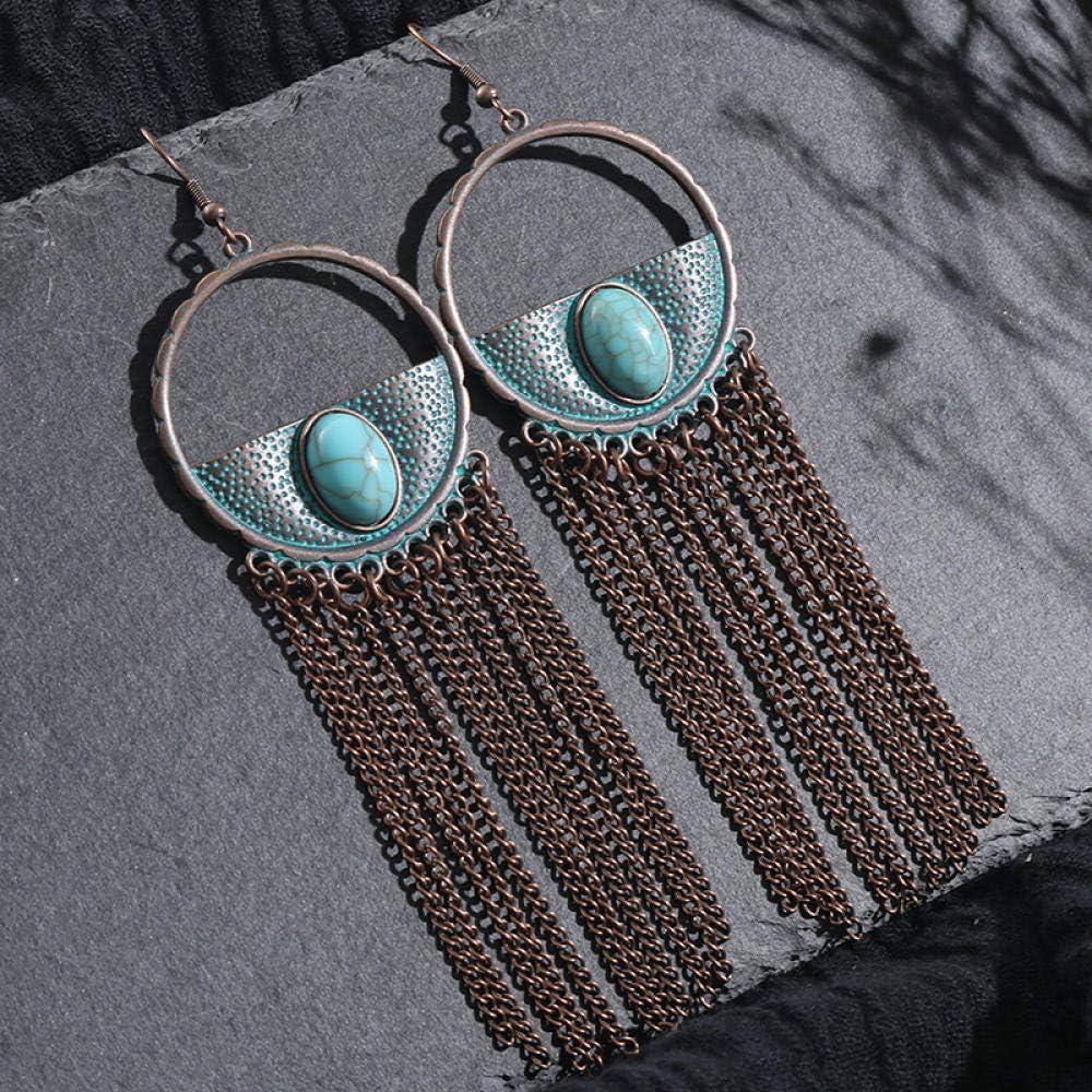 Erin Pendientes Largos con Borla Larga De Metal De Bronce Vintage Vintage para Mujer Pendientes De Piedra Natural Roja Y Verde Semi-Incrustada Boho Mujeres