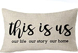 "FELENIW This is us Our Life Our Story Our Home Home Sweet Throw Pillow Cover Cushion Case Cotton Linen Material Decorative Lumbar 12"" x 20'' inches"