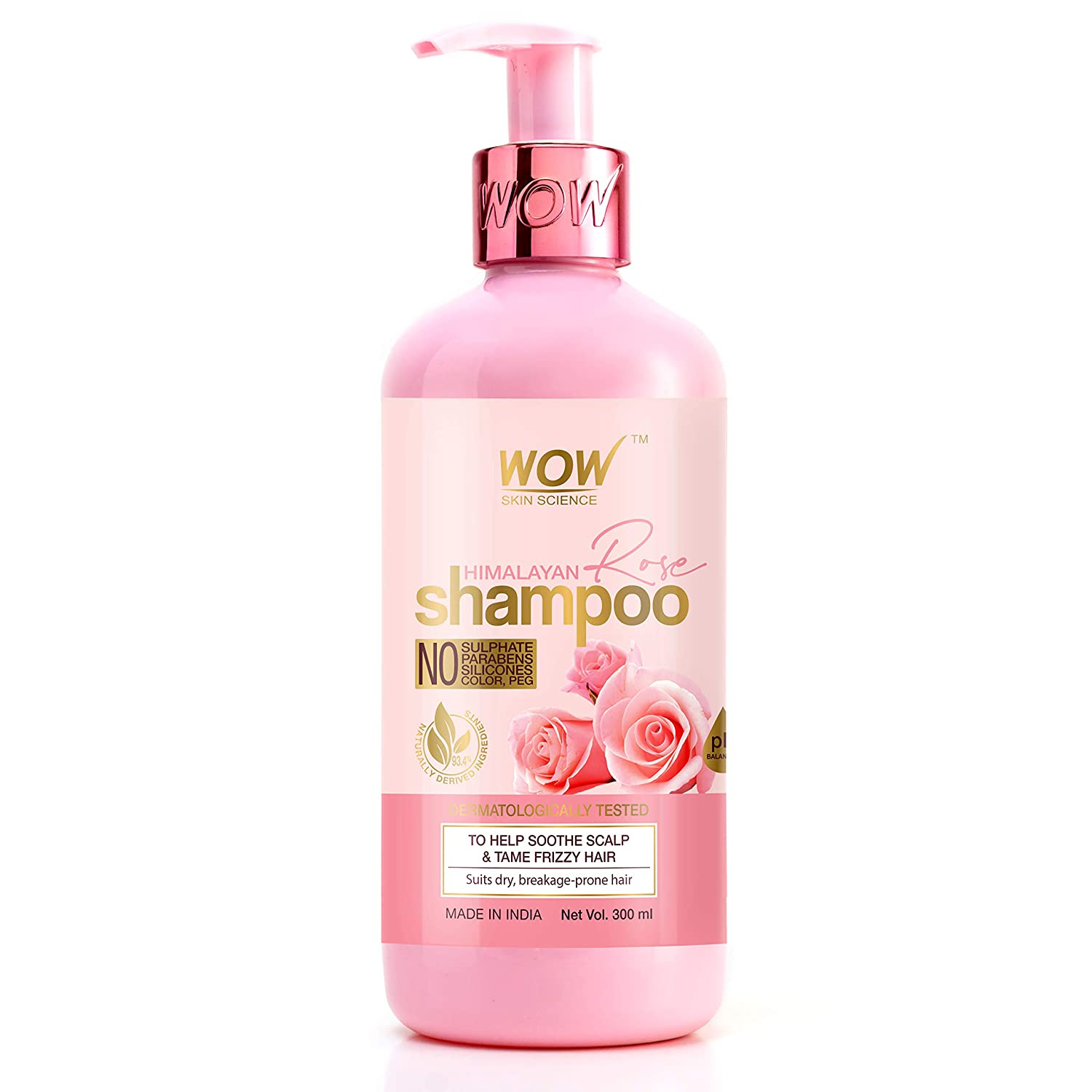 WOW Skin Science Himalayan Rose Shampoo with Rose Hydrosol, Coconut Oil, Almond Oil & Argan Oil - For Volumnising Hair, Anti Smelly Scalp - No Parabens, Sulphate, Silicones, Color & PEG, 300 ml