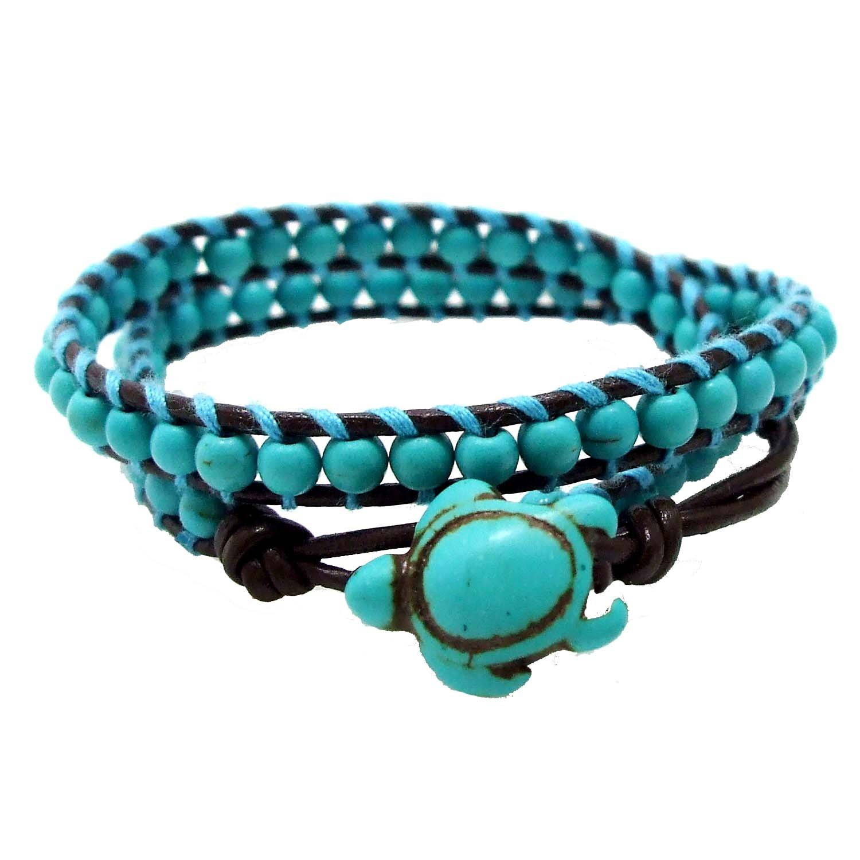 AeraVida Timeless Ocean Sea Turtle Simulated Turquoise Double Leather Wrap Bracelet