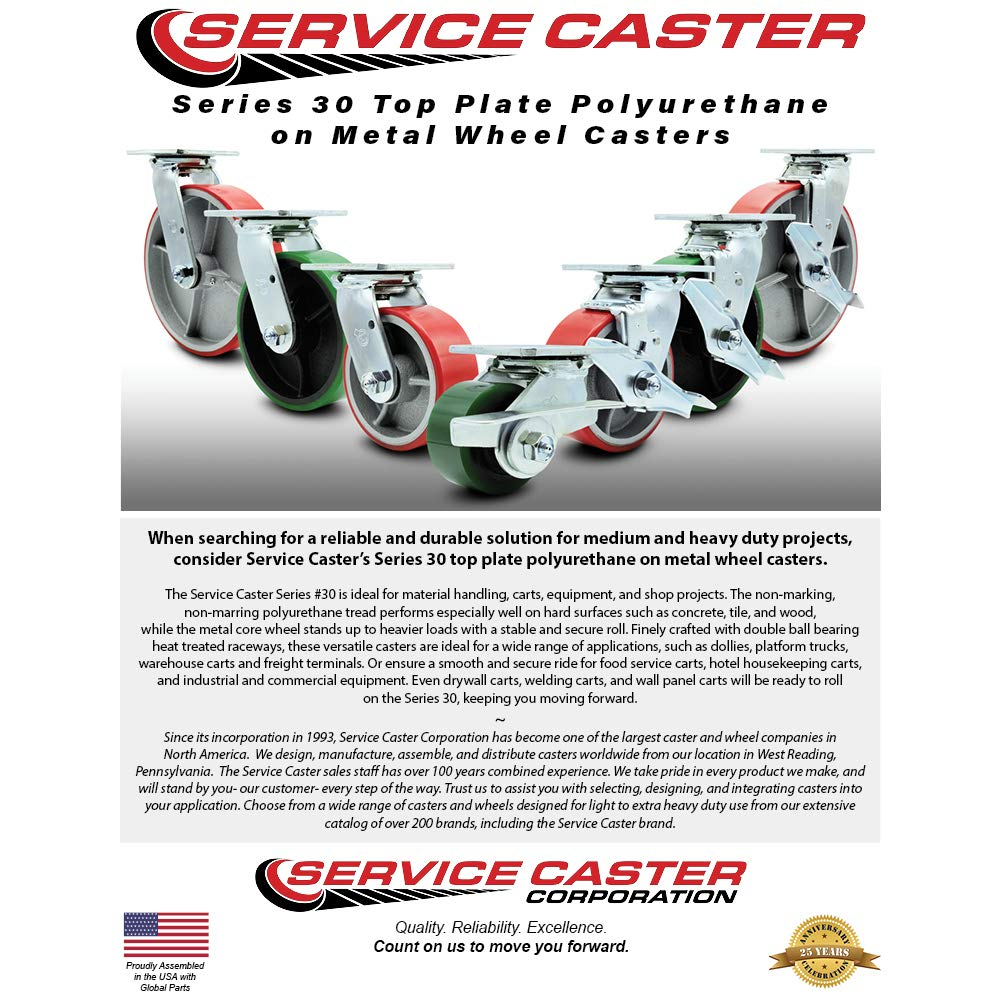 Service Caster - 6'' x 2'' Polyurethane Wheel Caster Set - Red on Silver - 2 Swivel with Brakes and 2 Swivel - Non Marking - 4,800 Lbs Total Capacity - Set of 4 by Service Caster (Image #3)