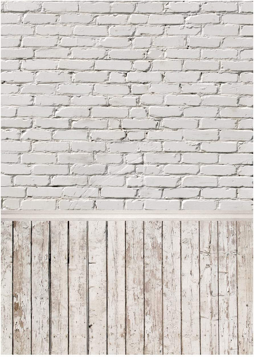 WOLADA 5x7ft White Brick Wall and Wooden Floor Backdrop Photography Party Decoration Wooden Floor Photo Backdrop Vinyl Studio Props 10654