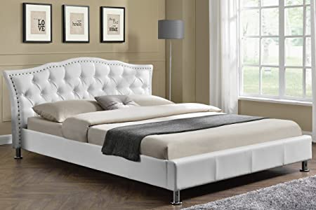 Attractive Georgio Diamante Headboard, Designer Crushed Silver Velvet Upholstered Or  White Faux Leather Bed Frame