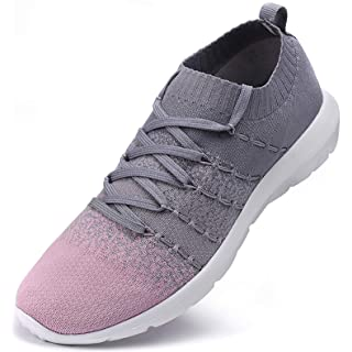 EvinTer Women's Running Shoes Lightweight Comfortable Mesh Sports Shoes Casual Walking Athletic Sneakers, Grey, 10