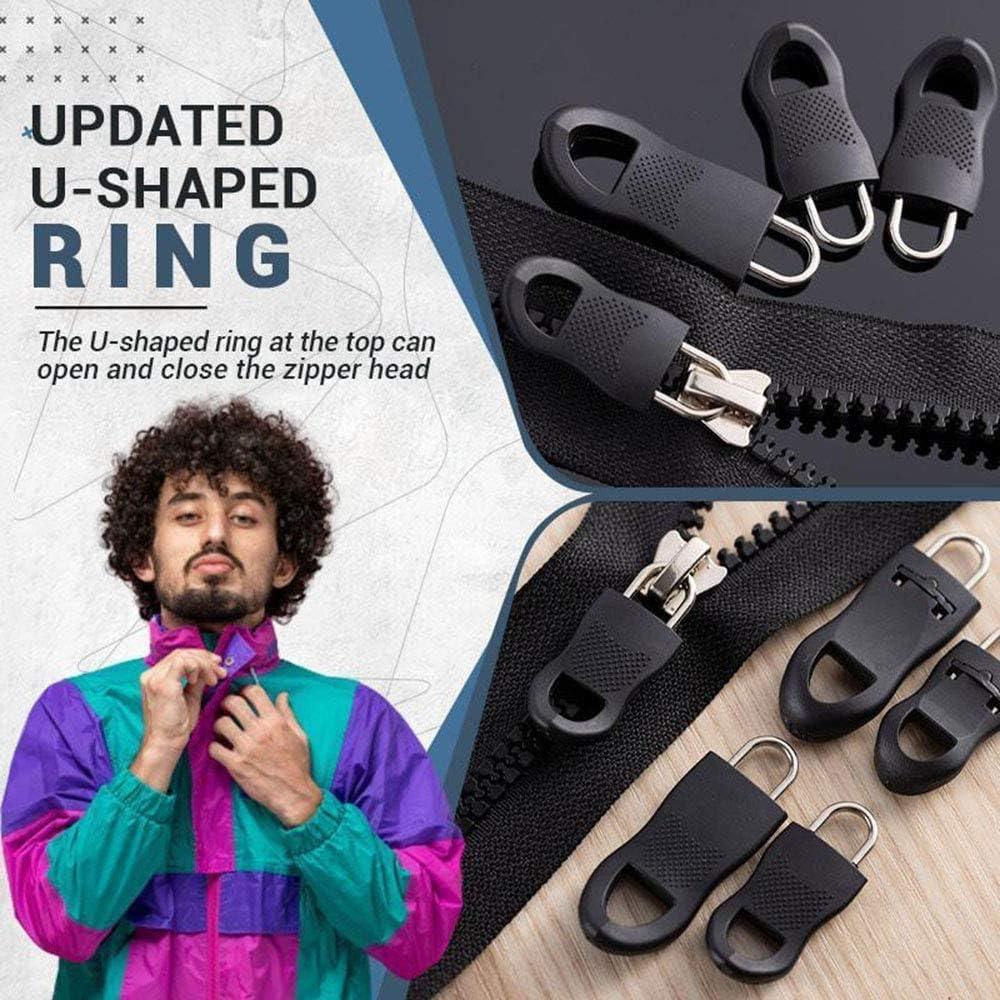 Universal Detachable Zipper Puller Set,Wide Waistbands Elastic Waist Zip,U Shape Zipper Pull ,Metal Zipper Fixer,Zipper Extension Pulls ,for Luggage Backpack Cloth (16 set)