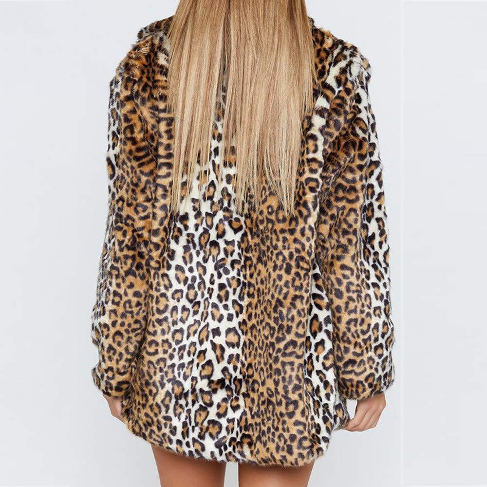 Amazon.com: BETTERUU UFACE Womens Leopard Warm Artificial Wool Coat Lapel Jacket Winter Parka Outerwear: Clothing