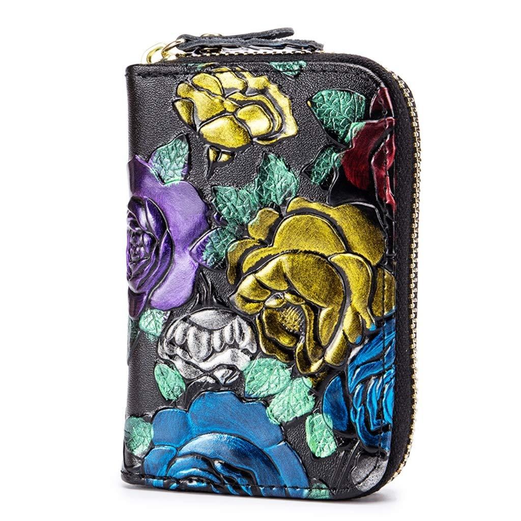 Libellule Brillianceco RFID Etui Porte Carte Monnaie Portefeuille Femme Cuir Veritable Style Accord/éon Fleur Rose Design