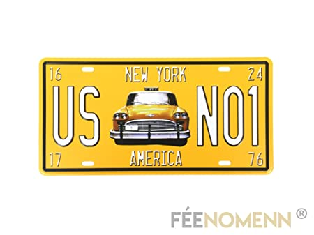FEENOMENN Placa Metal matrícula Vintage - Taxi New York (15 ...