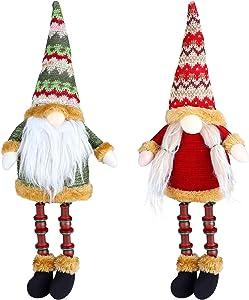 RUODON 2 Pack Christmas Gnome Fireplace Decor Decoration Handmade Plush Toy Long Legs Sitting Ornament Winter Sitting Table Desktop Decorations