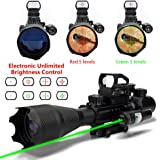 AR15 Tactical Rifle Scopes 4-16X50EG Dual Ill Reticle Scope with R&G Laser Electronic Holographic R&G Dot Sight 22&11mm Weaver/Picatinny Mount (24 Month Warranty)