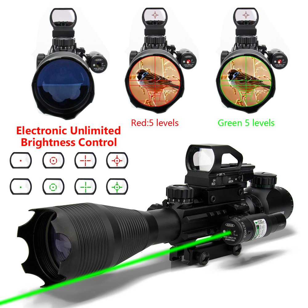AR15 Tactical Rifle Scopes 4-16X50EG Dual Ill Reticle Scope with R&G Laser Electronic Holographic R&G Dot Sight 22&11mm Weaver/Picatinny Mount (24 Month Warranty) (C4-16x50EG+HD104+JG8 (Green laser)) by Aipa