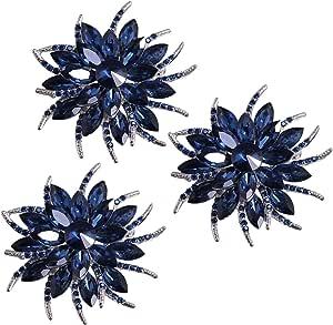 Mecool Broche de Flores para Mujeres Novias Creado Crystal Broche Blue-3 Pcs Set