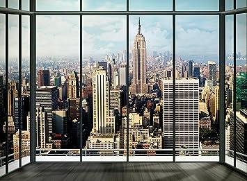 Fototapete fensterblick skyline  New York Skyline Fenster Foto-Tapete 4-teilig - Fototapete ...