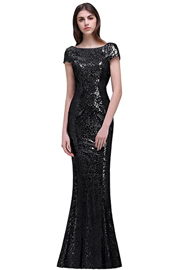 Misshow Women Sparkly Cap Sleeve Long Sequins Bridesmaid Dress Prom/Evening Gowns, Black,