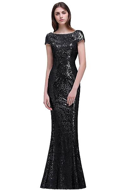 165fc952 MisShow Women Glitter Sequins Prom Evening Gowns Long Bridesmaid Dresses,  Black, 2