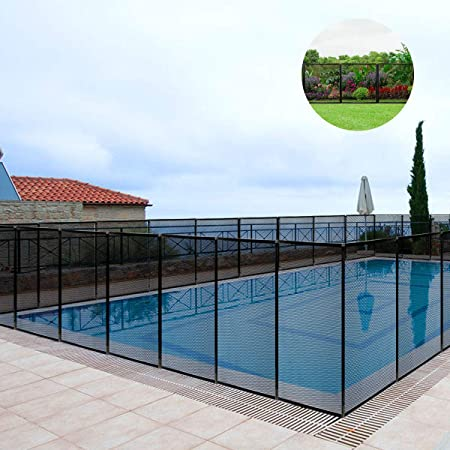 Giantex 4FtX48Ft Swimming Pool Fence in Ground Fencing Section Kit Safety  Mesh Barrier Removable Pool Fence, Black Upgraded