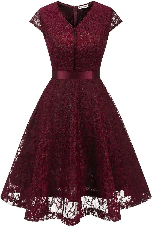 TALLA XL. MUADRESS Fashion Vestido Corto De Fiesta Elegante Mujer De Encaje Escote en V Estampado Flor Vestido Boda Cóctel Borgoña XL