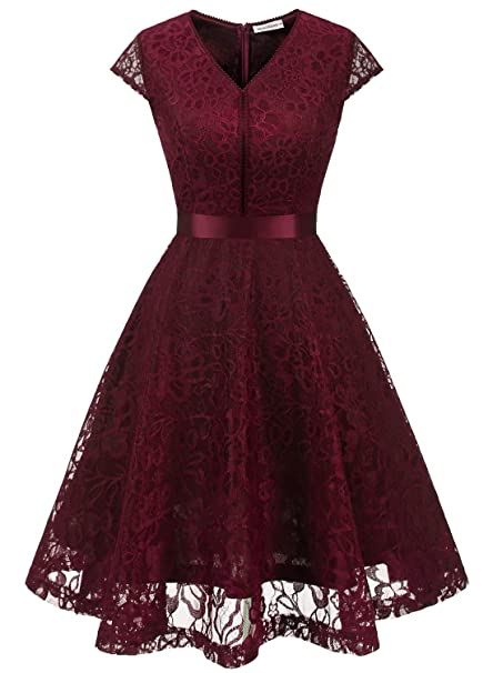 MuaDress 6004 Fashion Vestido Corto De Fiesta Elegante Mujer De Encaje Escote en V Estampado Flor